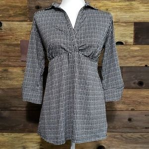 Two Hearts Maternity Houndstooth Print Top